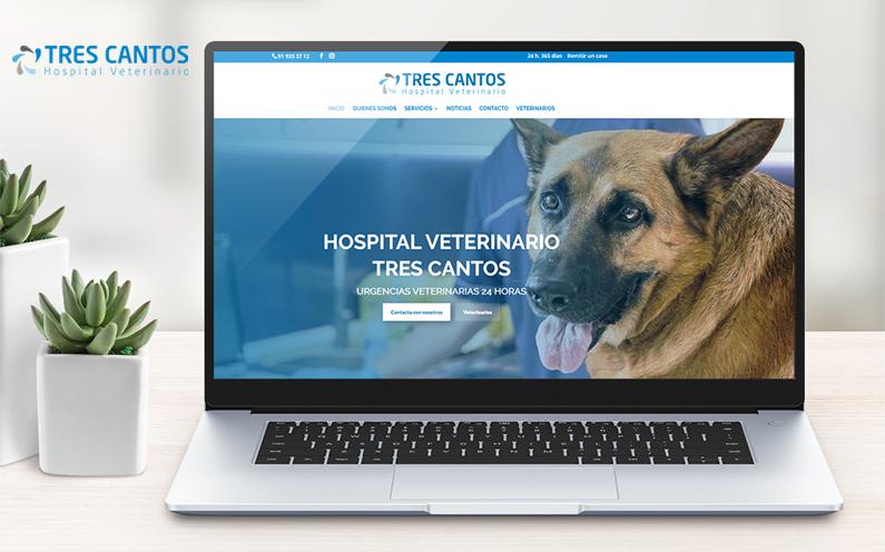 Mockup de web de Hospital Veterinario Tres Cantos